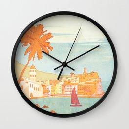 Italy, Cinque Terre Vintage Travel Poster Wall Clock