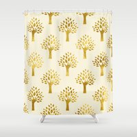 gold foil Shower Curtains featuring Cream Gold Foil 02 by Aloke Design