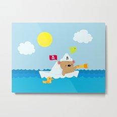 Bear in paper boat Metal Print