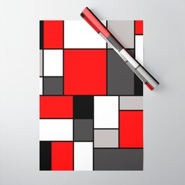 Red Black and Grey squares Wrapping Paper