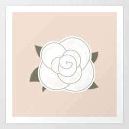White vintage rose. Vector Illustration Art Print