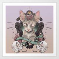 sphynx Art Prints featuring Sphynx by AlchemyArt