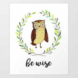 Woodland Creature Animal Tribal Nursery Owl Baby Art Wall Decor Print Be Clever Wreath Watercolor Art Print