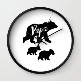 Papa Bear T Shirt with Two Cubs Wall Clock