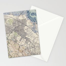 Old Map of Palo Alto & Silicon Valley CA (1943) Stationery Cards