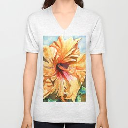 Tropical Yellow Hibiscus Unisex V-Neck