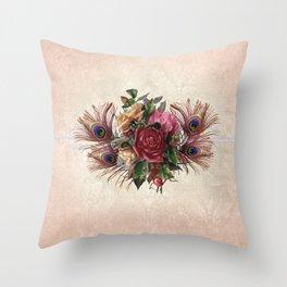 Peacock Feather Bouquet Throw Pillow