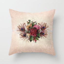 Peacock Feather Bouquet Throw Pillow