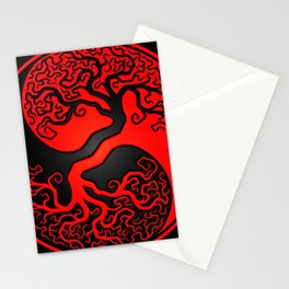 Red and Black Tree of Life Yin Yang Stationery Cards