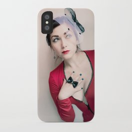 """""""Who Me?"""" - The Playful Pinup - Red and Black Pin-up Girl by Maxwell H. Johnson iPhone Case"""