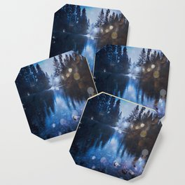 Magical Blue Forest Water Reflection - Nature Photography Coaster