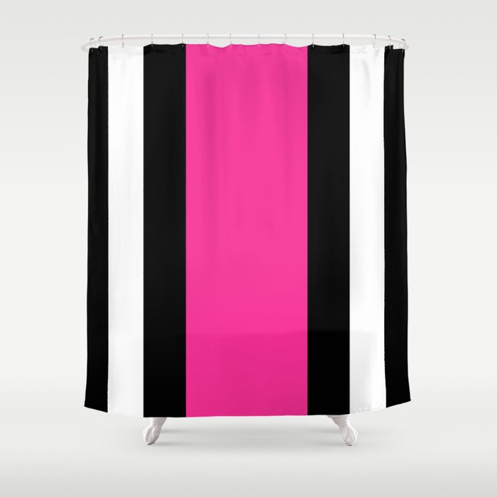 Black White And Pink Vertical Stripes Shower Curtain