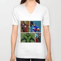 avenger V-neck T-shirts featuring Avenger Team by Carrillo Art Studio