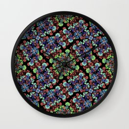 Colorful Stylized Floral Collage Wall Clock
