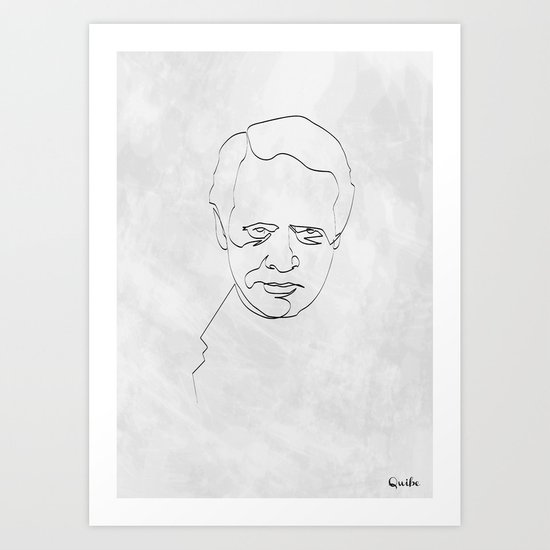 One Line Number 6 Art Print