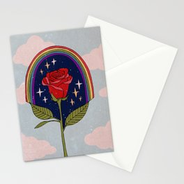 Single red rose Stationery Cards