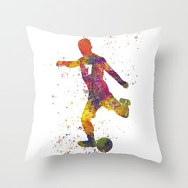 Soccer player isolated 03 in watercolor Throw Pillow