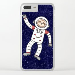 Sloth Spaceman Clear iPhone Case
