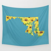 maryland Wall Tapestries featuring Maryland in Flowers by Ursula Rodgers