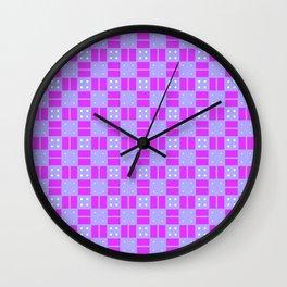 Violet Purple Cell Checks Wall Clock