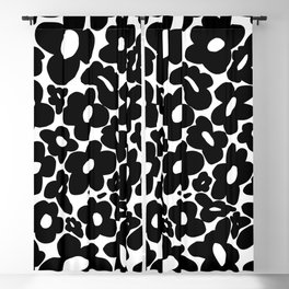60s 70s Hippie Flowers Black Blackout Curtain
