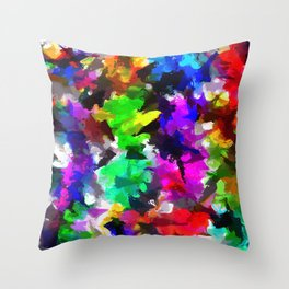 psychedelic splash painting abstract texture in pink blue green yellow red black Throw Pillow