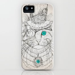 Steampunk Cat Vintage Style iPhone Case