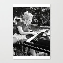 Lady Ga ga Playing Piano Poster, Black and White Lady Ga ga Poster, Music Poster, Lady Ga ga Print,Chromatica Canvas Art,Born This Way Wall Art Canvas Print