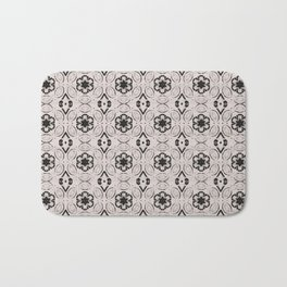 Bridal Blush Floral Geometric Pattern Bath Mat