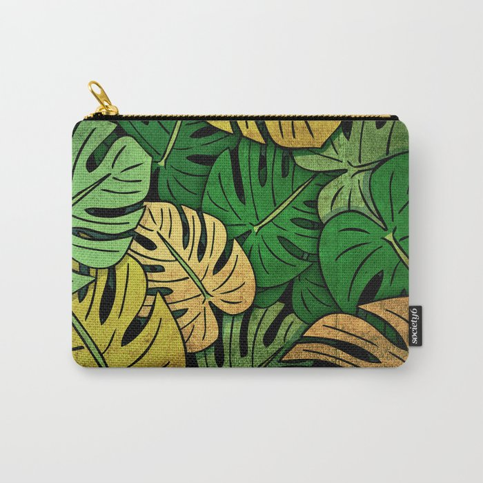 Grunge Monstera Leaves Carry-All Pouch