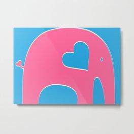 Pink and Blue Elephant Metal Print