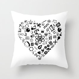 I Love Science   Lab Heart Logic Atheist Throw Pillow