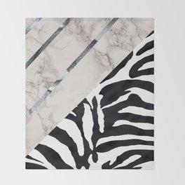 Zebra,marble texture stylish decor Throw Blanket