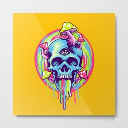 Psychedelic Tapestry Skull Design Metal Print