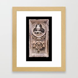 Stone Carving at Bethesda Terrace in Central Park. Framed Art Print