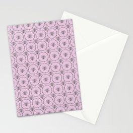 Vintage Shabby Chic Bees in Laurel Wreaths in Grey on Lilac Stationery Cards