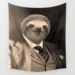 Gentleman Sloth with Monocle Wall Tapestry