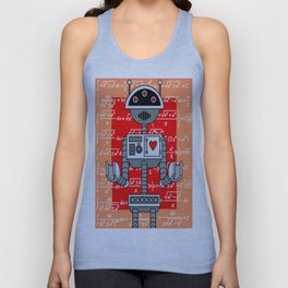Nerdy Robot Print with math formulas in background Unisex Tank Top