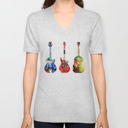 Guitar Threesome - Colorful Guitars By Sharon Cummings Unisex V-Neck