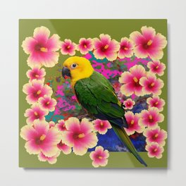 YELLOW HEADED GREEN PARROT PINK HIBISCUS KHAKI FLORAL Metal Print