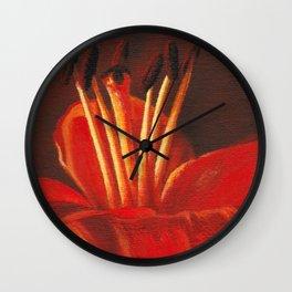 Orange lily pistil Wall Clock