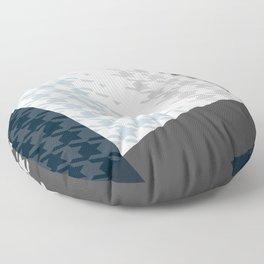 Modern Houndstooth Reinterpreted A – Navy / Gray / White Checked Pattern Floor Pillow