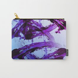 Soft Blue and Magenta Action Painting Carry-All Pouch