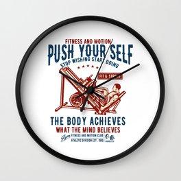 Stop Wishing Start Doing - Gym Motivation T Shirt Wall Clock