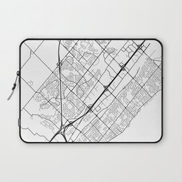 Burlington Map, Canada - Black and White Laptop Sleeve