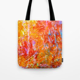 Abstract with Circle in Gold, Red, and Blue Tote Bag