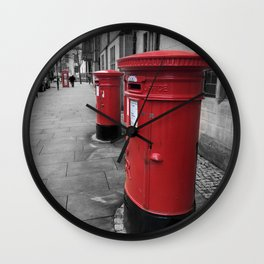 Typical British Red Post Box Colour Pop Wall Clock