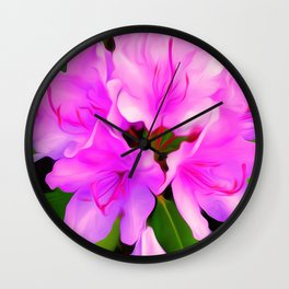 Painted Rhododendron - Pink Wall Clock