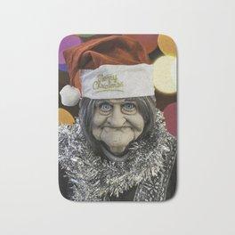 Christmas Grandma Bokeh Bath Mat