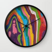 "pastel goth Wall Clocks featuring ""Alien Goth"" (7211) by DelusionalDiva"